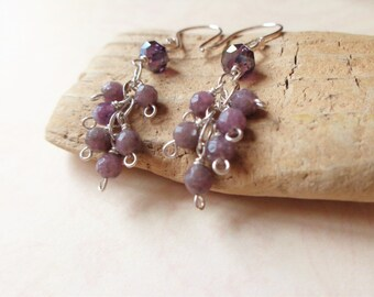 Purple stone cascade earrings, Muscovite earrings with facted purple crystal