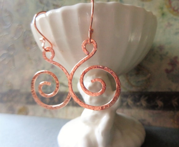 Hand Hammered Copper Swirl Earrings, Hammered Copper Spiral Earrings, Under 20