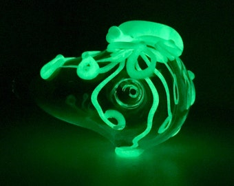 Glow Octopus Glass Churchwarden Pipe Hand Blown Thick Wall in Clear & Green Glow, Ready to Ship #347