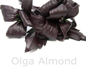 Leather flower. Leather brooch .Black and purple flower brooch .Fantasy Leather jewelry