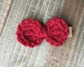 Hand-Crocheted Burgundy Hair Bow Clip