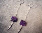 silver amethyst feather earrings