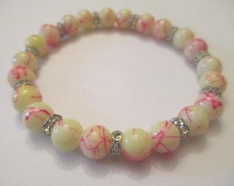 Cream and Pink Rhinestone Stretch Bracelet