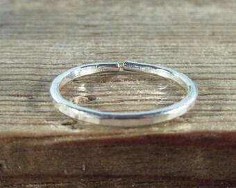 Toe Rings 16 Gauge Sterling Silver Hammered Adjustable - StackingToe Ring, Finger Ring, Toe Ring, Knuckle Ring, Thumb Ring, Adjustable Ring