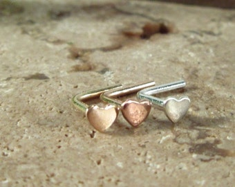 Heart Nose or Tragus Stud - Silver Nose Stud, Gold Nose Stud, Rose Gold Nose Stud, Pink Gold Nose Stud, Silver Tragus Stud, Gold Tragus Stud