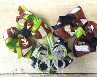 Seattle Seahawks Inspired Hair Bows, Football Season, Lime Green, Navy Blue, Silver, Sparkly, Stripes, Big Bows