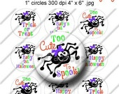 Halloween Spider Sayings Bottle Cap Images Collage Set 1 Inch Circle 4x6 - Instant Download - BC522