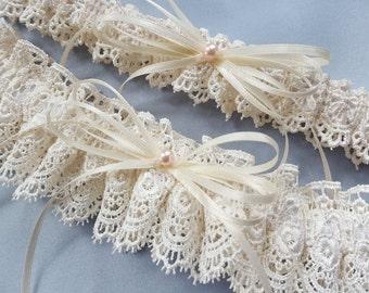 Venise Lace Wedding Garter Set Ivory Lace Garter Set Blush Pink Pearl Wedding Bridal