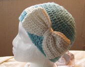 Iced Aqua Crocheted Hat with Bow