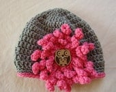 Grey and Pink Crocheted Hat with Flower and Owl Button, Child