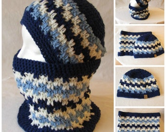 Custom Crocheted Boy's Hat and Cowl Set, Handmade in Canada