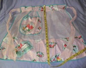 2 Vintage Aprons - Sheer Pink with Polished Cotton - Sheer White w/Yellow applique floral