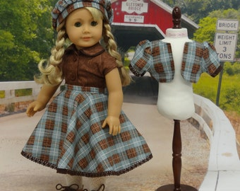 Western Plaid - circle skirt, jacket and beret ensemble for American Girl doll