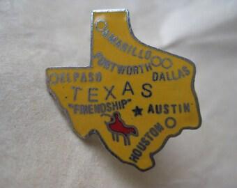 Texas Lapel Pin Enamel Gold - Yellow Silver Tie Tack Vintage Brooch