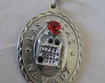 Las Vegas Orange Red Stone Charm Slot Machine Sterling Silver 925 Vintage
