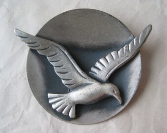 Seagull Brooch Pewter Pin Vintage Gull Bird