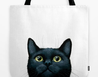 Tote Bag black Cat 606 funny All over print from art painting L.Dumas Artbylucie Totes