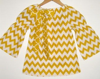 Chevron  Top girls Mustard yellow Chevron top long sleeves peasant top girls  in sizes 2t,3t,4t, 5t.,6, 7, 8 , 10