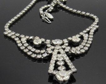 Vintage Rhinestone Necklace Mini Bib Bridal Jewelry N7414