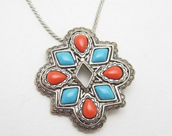 Vintage Pendant Brooch Necklace Southwestern Jewelry American Spirit N6833