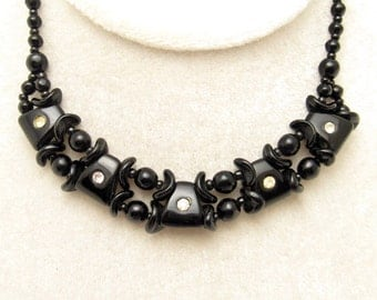 Vintage Rhinestone Choker Black Glass Germany Jewelry N6835