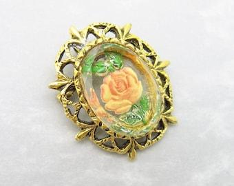 Vintage Rose Brooch Pendant Reverse Painted Glass P6860
