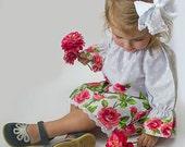 Girls peasant dress - girls dress - little girls peasant dress - long sleeves - vintage dress - dress - polka dots - roses - Valentines