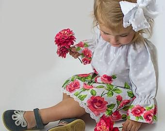 Girls peasant dress - girls dresses - boho dress - boho dress baby - polka dot dress - bohemian dress - boho flower girl dress - tunic dress