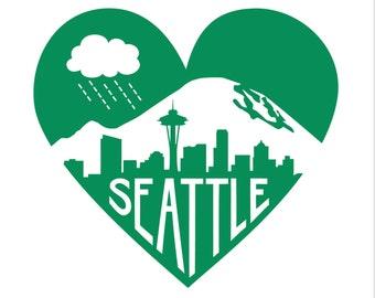 "Emerald Green Seattle Heart -- Limited Edition 12 x 12"" Screenprint"