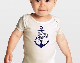 Navy Blue Ballard Anchor-- Seattle Neighborhood — Organic Cotton Baby One Piece