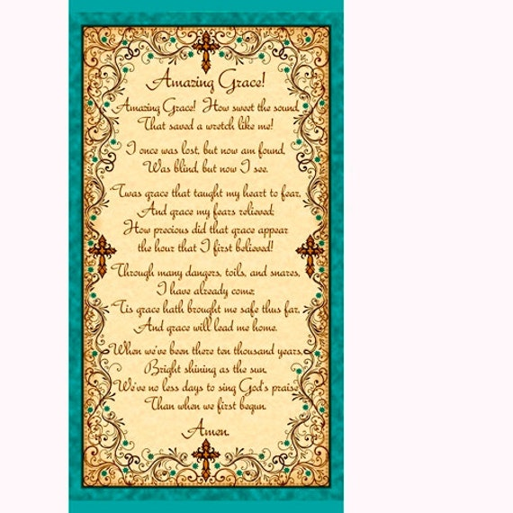Amazing Grace 100 Cotton Fabric Panel Not Premade