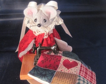 Quilter Mouse at her Sewing Machine