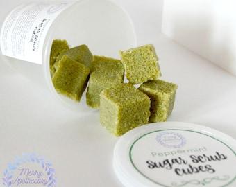 Sugar Scrub Cubes * Peppermint * Body Scrub * Exfoliating Scrub * Solid Sugar Scrub * Vegan Scrub * Shea Soap Scrub * Shea Butter
