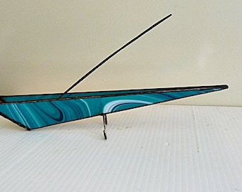 Stained Glass , Incense Burner, Incense Holder, Tie Dyed Style, Teal White Black