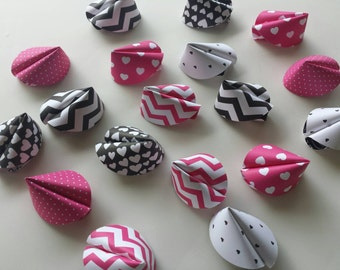 Paper Fortune Cookie Favors - Birthday Party, Chevron, Polka Dots, Hearts, Pink Black White Party Favors, First Birthday, Baby Shower, Tween