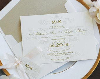 Gold and Blush Invitation Suite, Vintage Invitation, Formal Wedding, Apothecary Bottle, Pearlescent Paper SAMPLE