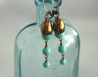 Mint Green and Copper Earrings, Glass Beads,  Vintage Beads, Jade Green, Celadon