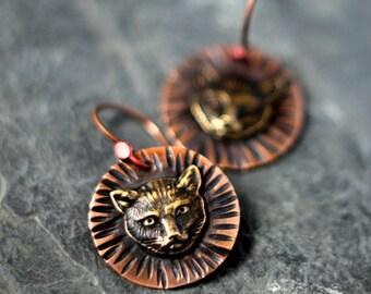 Black Cat Earrings, Halloween Dangles, Vintage Cabochons