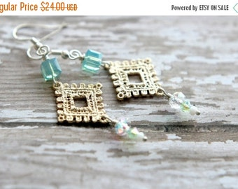 Lace Earrings, Aqua Crystal Dangles, Iridescent, Sparkly, Metallic Silver/Gold, Feminine