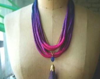 Purple Ombre Necklace, Tropical Fuschia, Ocean Blue, Multi-strand, Tassel Pendant, Bohemian