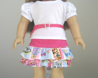 Doll Clothes Made to Fit American Girl Doll Shopkins Skirt & White Top Fit AMERICAN GIRL DOLLS
