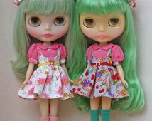 Patterns and English Instructions of Puff sleeves dress for Blythe