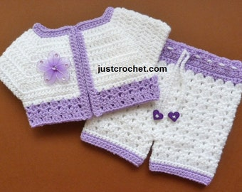 Short Jacket and Pants Baby Crochet Pattern (DOWNLOAD) FJC83