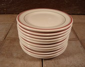 Eleven Caribe Restaurant china bread and butter plates- Puerto Rico- red and green stripe on white ironstone- for one price- nice condition