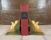 Pair of beautiful old Roseville Pottery book ends bookends- Zephyr Lily design, fine condition, authentic Roseville