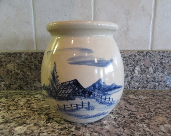 Beautiful Paul Storie stoneware jar/crock with cobalt blue barn/ farm scene- great condition, solid, beautiful, weighty