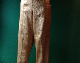 50's gold lurex cigarette pants.