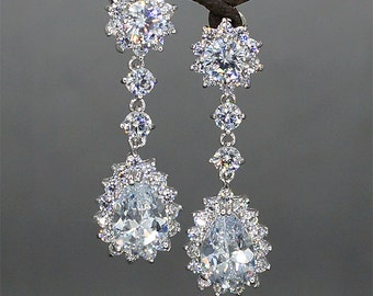 Crystal Bridal Earrings Rhinestone Earrings Teardrop  Crystal Earrings Crystal Drop Earrings Rhinestone Wedding Jewelry for brides