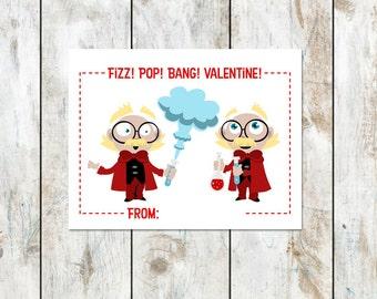 Twin Mad Scientists Valentine - Class Valentine Printable - Twin Boys Valentines - Boy Scientist Valentine - Science Valetines