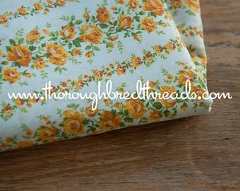 Golden Roses  - Vintage Fabric 50s 60s 35 in wide New Old Stock Shabby Chic Cottage Floral Stripes